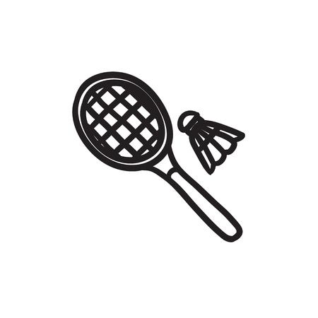 Shuttlecock and badminton racket sketch icon.