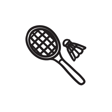 Shuttlecock and badminton racket sketch icon.