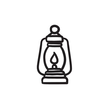 Icono del bosquejo de la linterna que acampa.