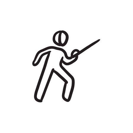 Fencing sketch icon. Illustration