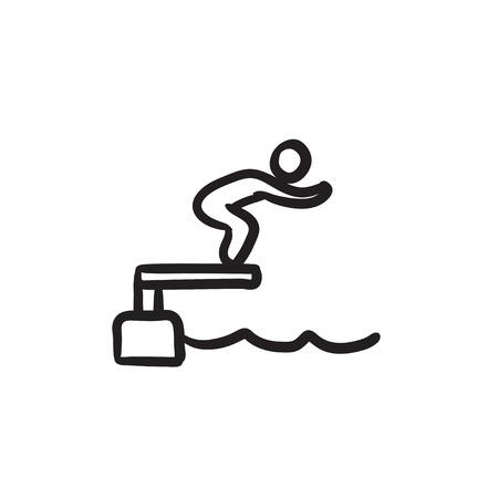 diving platform: Swimmer jumping in pool sketch icon. Illustration