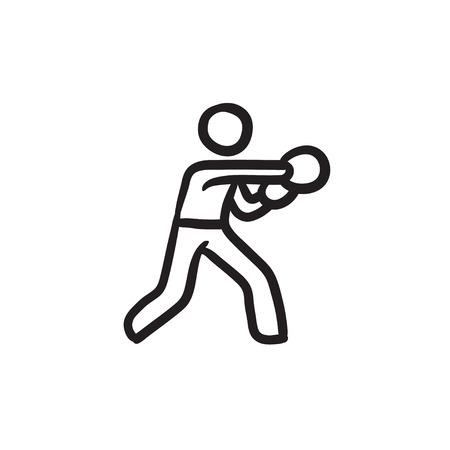 Male boxer sketch icon. Çizim