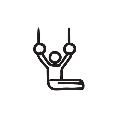 Gymnast on stationary rings sketch icon.