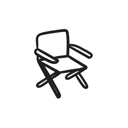 collapsible: Folding chair sketch icon. Illustration