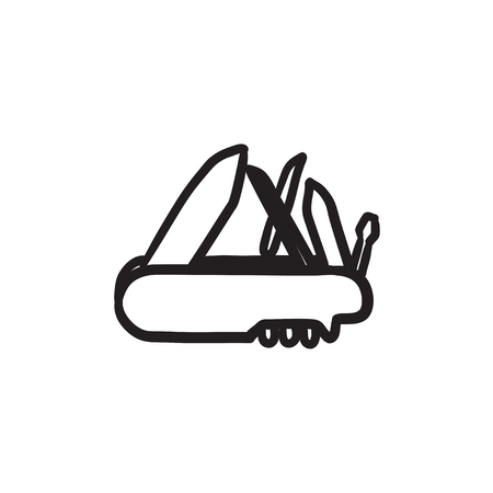 Multipurpose knife sketch icon. Illustration
