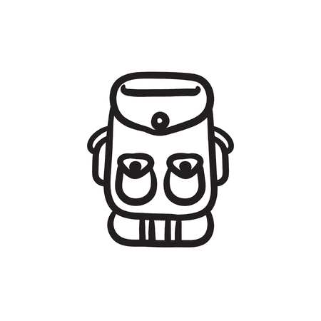 Backpack sketch icon.