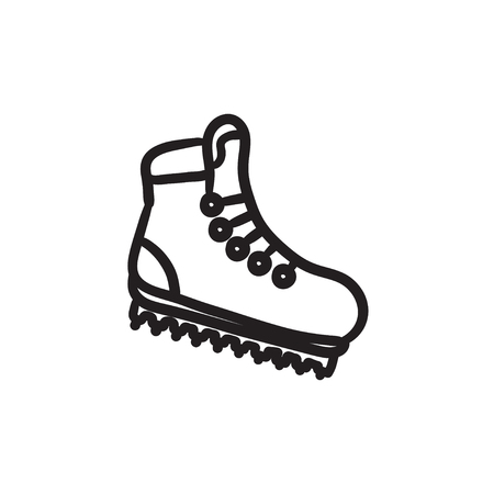 Hiking boot with crampons sketch icon. Illustration