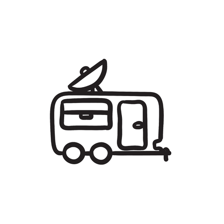 Caravan with satellite dish sketch icon. Illustration