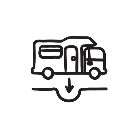 Motorhome and sump sketch icon. 向量圖像