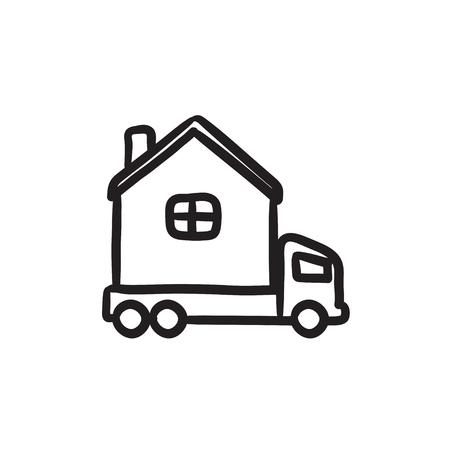 motorhome: Motorhome sketch icon.