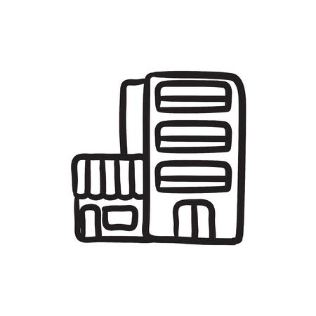 Hotel building sketch icon. 向量圖像