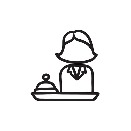 Female receptionist sketch icon.