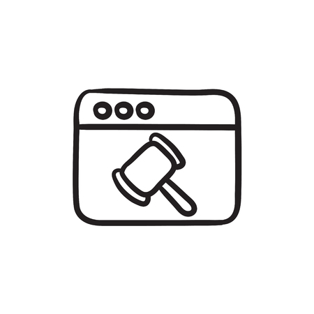 courthouse: Browser window with judge hammer sketch icon. Illustration
