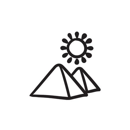 Egyptian pyramids sketch icon.
