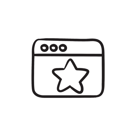 Browser window with star sign sketch icon.