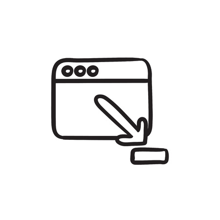 website window: Browser window with download sign vector sketch icon isolated on background. Hand drawn Browser window with download sign icon. Browser window sketch icon for infographic, website or app.