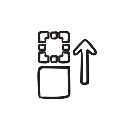 Movement of files vector sketch icon isolated on background. Hand drawn Movement of files icon. Movement of files sketch icon for infographic, website or app.