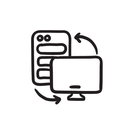 lcd display: Personal computer set vector sketch icon isolated on background. Hand drawn Personal computer set icon. Personal computer set sketch icon for infographic, website or app.