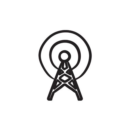 tv tower: Antenna sketch icon. Illustration