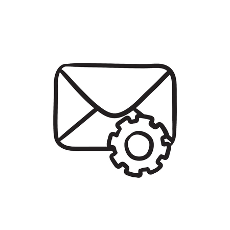 Envelope mail with gear sketch icon. Illustration