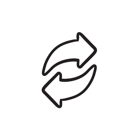circling: Two circular arrows sketch icon.
