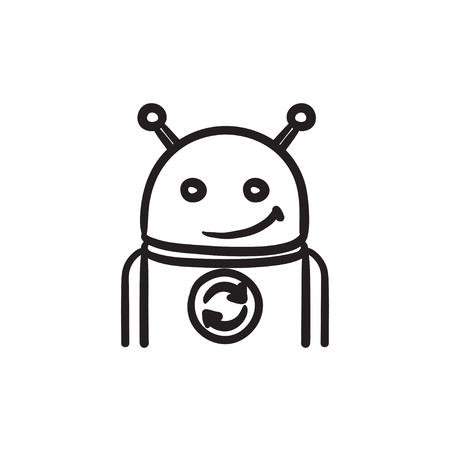 Android con el icono de refrescar signo de boceto.