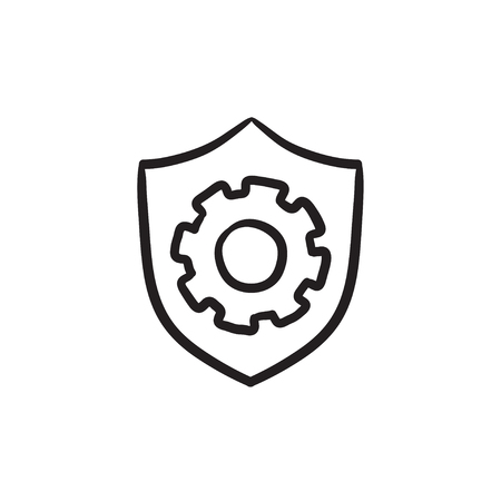 Shield with gear sketch icon.