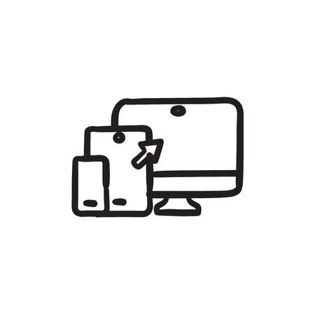 design: Responsive web design sketch icon. Illustration