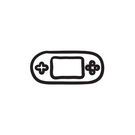 Game console gadget sketch icon. 矢量图像