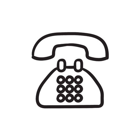 earphone: Telephone vector sketch icon isolated on background. Hand drawn Telephone icon. Telephone sketch icon for infographic, website or app. Stock Photo