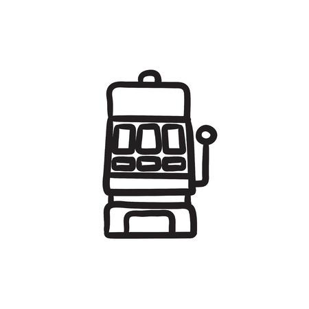Slot machine sketch icon.