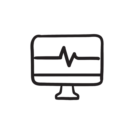 heart beat: Heart beat monitor sketch icon.