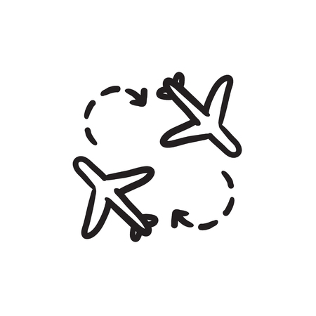 Airplanes sketch icon.