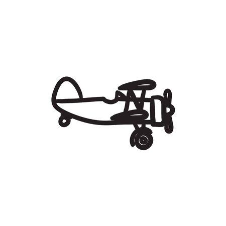 Propeller plane sketch icon.