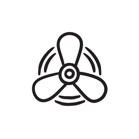 Boat propeller sketch icon. Illustration