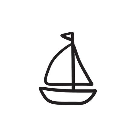 Sailboat sketch icon.