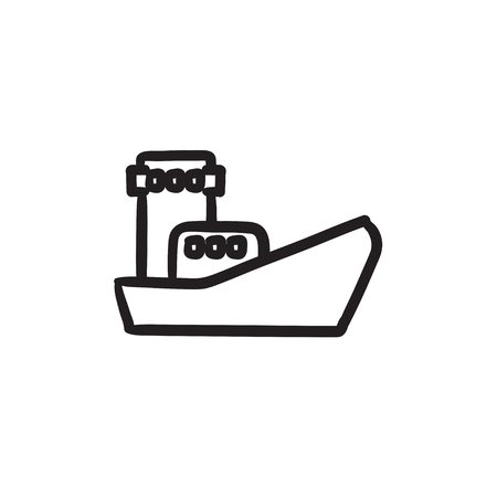 Cargo container ship sketch icon. Illustration