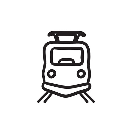 Front view of train sketch icon. Illustration