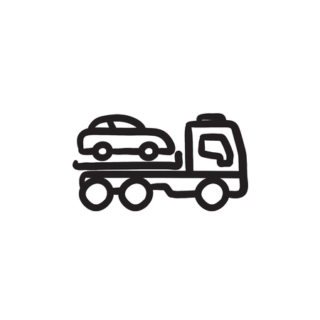 Car towing truck sketch icon.