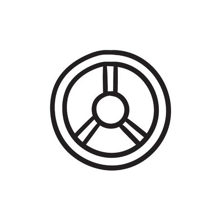 Steering wheel sketch icon.
