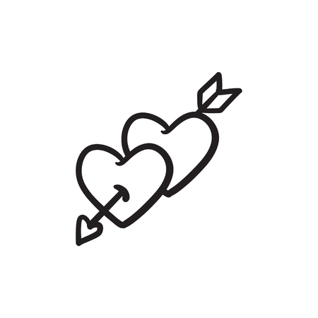 Two hearts pierced with arrow sketch icon. Stock Illustratie