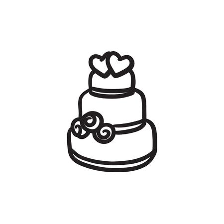 wedding cake: Wedding cake sketch icon.