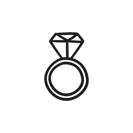 Engagement ring with diamond sketch icon.