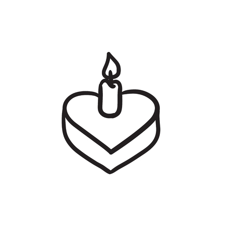 wedding reception decoration: Heart-shaped cake with candle sketch icon.