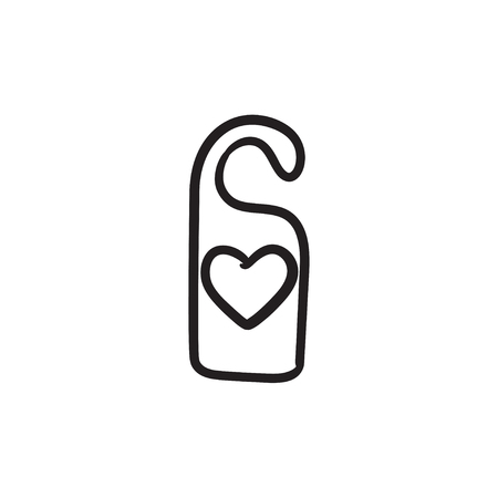 hangers: Door tag with heart sketch icon. Illustration