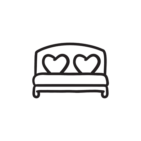 cushions: Heart shaped pillows on bed sketch icon. Illustration