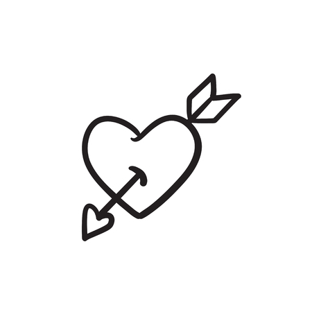 Heart pierced with arrow sketch icon.