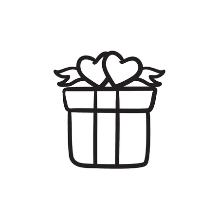 Gift box with hearts sketch icon. Illustration