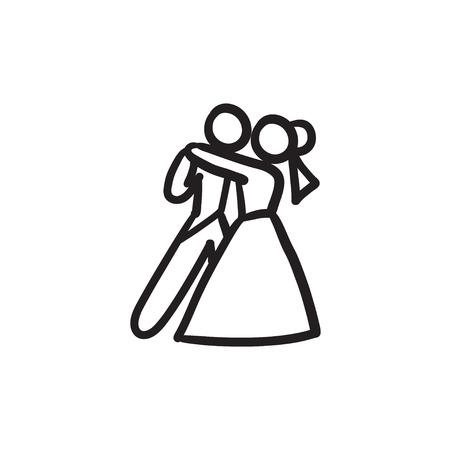 First wedding dance sketch icon. 矢量图片