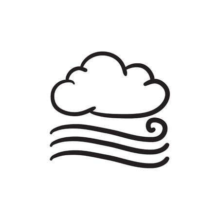 stormcloud: Windy cloud sketch icon. Illustration